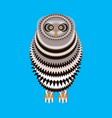 cute cartoon owl isolated on a blue background vector image vector image