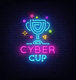 cybersport cup emblem cyber cup neon sign vector image