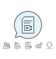 document with video line icon vlog file sign vector image vector image