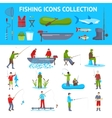 Fishing Flat Icons 2 Banners Set vector image vector image