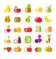 fruits and vegetables isolated icons healthy vector image vector image