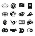 global connections icons set simple style vector image vector image