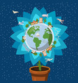 globe gently flower ecology concept cartoon style vector image
