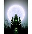 Halloween full moon and haunted castle