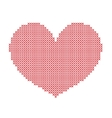 hand-made big red heart embroidered with a cross vector image vector image