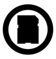memory card icon black color in circle vector image vector image