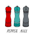 mills for spices and seasonings pepper mill vector image