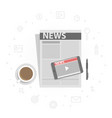 newspaper and mobile phone with online video news vector image vector image