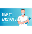 nurse in mask on blue abstract background vector image