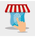 online shop finger touch screen internet security vector image