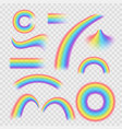 realistic detailed 3d rainbows different shapes vector image
