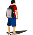 school boy waiting for school bus back to school vector image vector image