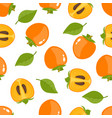 seamless pattern with whole persimmon and slice vector image