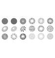 set circle sun rays sunburst starburst vector image