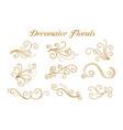 set decorative golden florals ornamental design vector image vector image