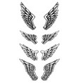 set eagle wings in tattoo style design vector image vector image
