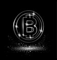 silver bitcoin symbol vector image