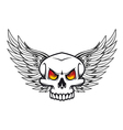 skull with fire eyes and wings vector image