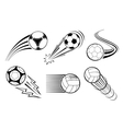 Soccer and football balls for labels emblems vector image