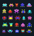 space aliens vintage video computer arcade game vector image vector image