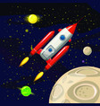 space rocket launch spaceship space background vector image vector image