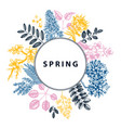 spring blooming trees wreath design hand drawn vector image