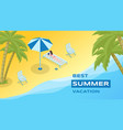 summer holidays recreation banner template vector image vector image