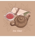 teapot with cup of tea vector image vector image