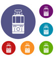 tram front view icons set vector image vector image