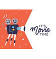 trendy movie time concept layout with film vector image