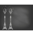 Two highly ornamental candles on chalkboard vector image