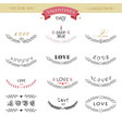 valentines day lettering design set calligraphic vector image vector image
