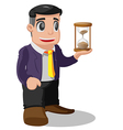 Worker Man Pose Hold Sandglass vector image vector image