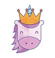 unicorn with crown horned animal fantasy magic vector image