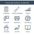9 school icons vector image vector image