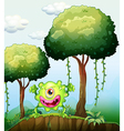 A playful green monster at the cliff in the forest vector image vector image