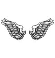 angel wings in tattoo style isolated on white vector image vector image