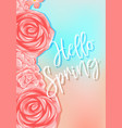background design with pink roses and word hello vector image vector image