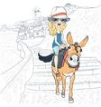 Beautiful girl on a donkey in Oia Santorini vector image
