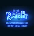 blue neon color font retro glow font vector image vector image