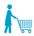 blue silhouette of pictogram woman with shopping vector image