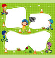 border template with kids riding bicycle vector image vector image