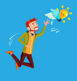 businessman jumps and tries to catch idea vector image