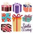 christmas gift boxes collection isoated on white vector image