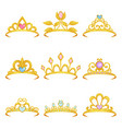 collection of various royal crowns decorated with vector image