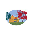 Colonial House WPA vector image vector image