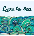 Color doodle texture swirl summer sea inscription vector image