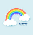 colorful flat rainbow with clouds and stars vector image
