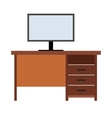 Computer desk flat icon vector image