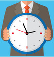 concept of time management human with clock vector image vector image